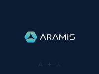 Aramis - Visual Identity blockchain branding green blue tech software identity logo a