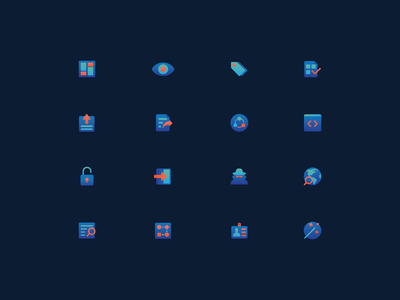 Aramis - Iconography software blockchain tech green blue iconset icons