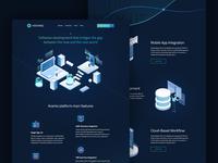 Aramis - Landing Page blue green software blockchain tech landing page landing website webdesign