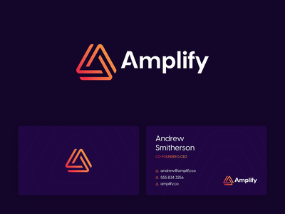 Amplify - Visual Identity logo link connection knot triangles orange tech