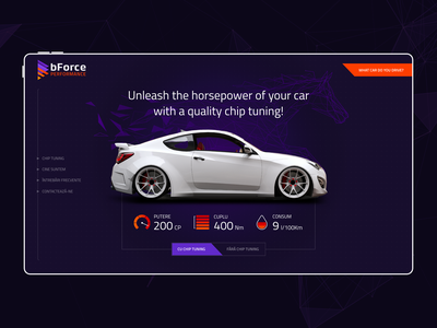 bForce Performance - Landing Page Design webdesign landing chip performance horsepower car tuning