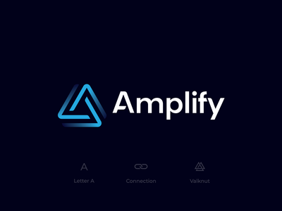 Amplify - Visual Identity 2 consultancy tech identity valknut link lines blue triangle logo