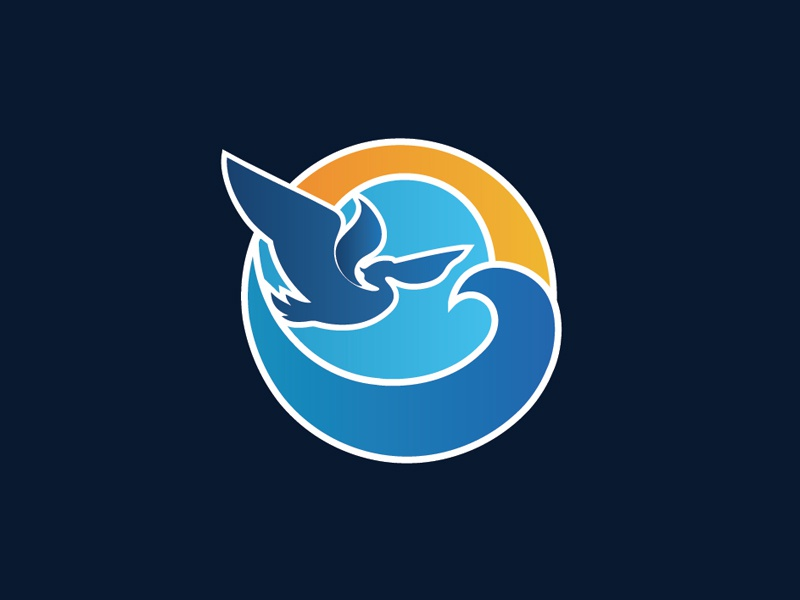 Logo Mark water blue pelican mark logo