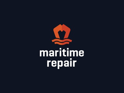 Maritime Repair Logo orange monogram repair ship maritime logo