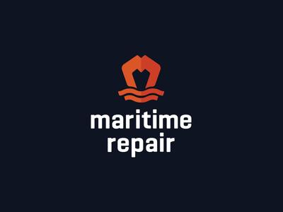 Maritime Repair Logo orange monogram repair ship maritime logo