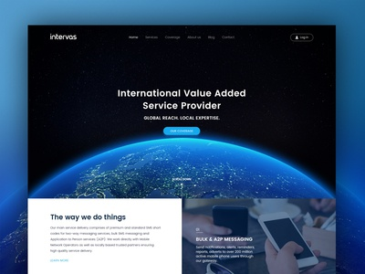 Intervas Web Redesign Proposal blue earth phones mobile provider services