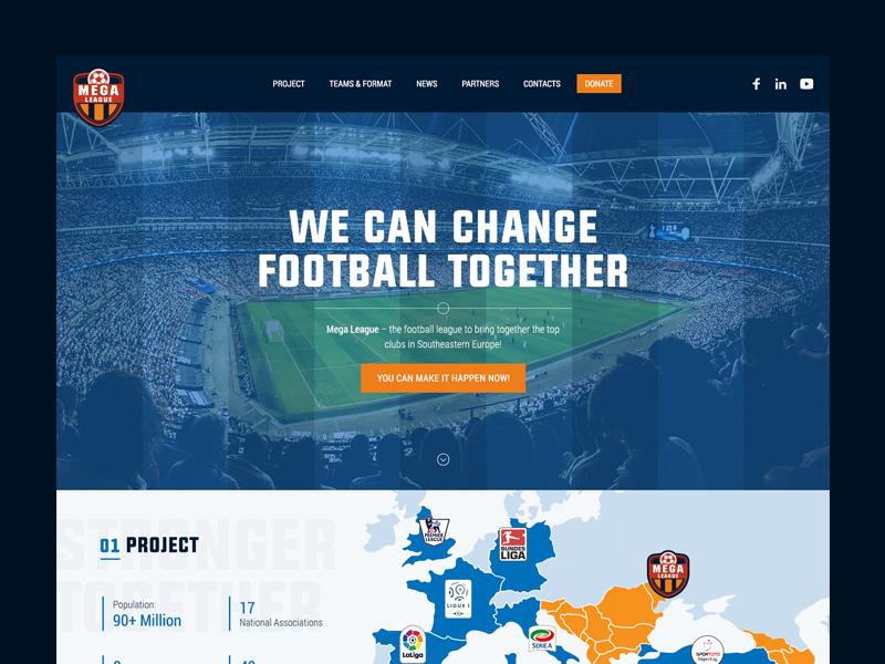 Football League Web Design league football orange blue website web design soccer