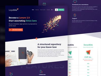 LegalKite.ch Landing Page Design landing lawyer cloud website kite legal