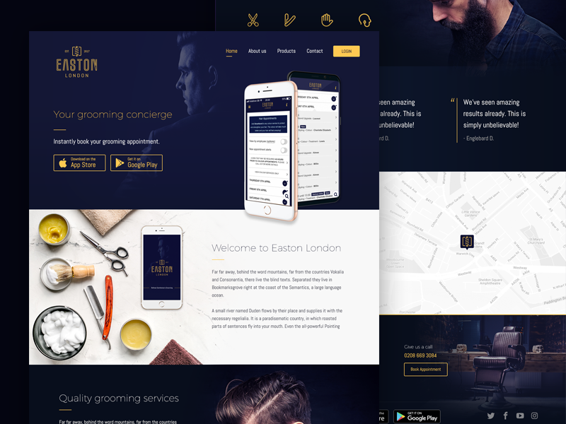 Easton London - Website Design app beard hair blue barber barbershop web website