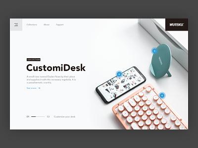 Wuteku - Hero Web Design white clean phone gadgets web design