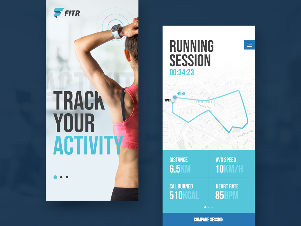 Not another fitness app design activity running blue mobile application design app fitness