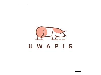 uwaPig logo animal logo icon logo creation new pig modern logo simple 3d motion graphics ui logo illustration grid graphic design design company brand logo branding animation