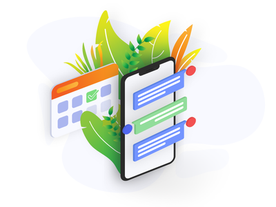 Turn buyer leads into appointments using texting isometric callendar appointment sms iphone ui website clean vector minimal illustration design