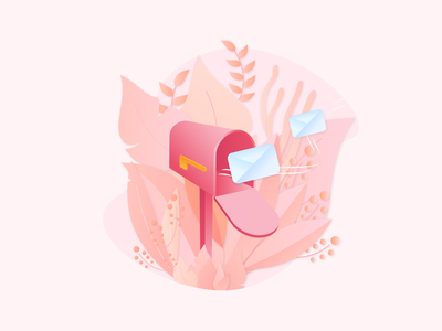 Letter Box website minimal graphic design flat web lettering art email illustration vector red mailing mailbox mail box letter design clean