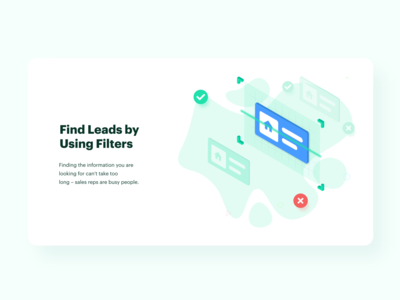 Find Leads by Using Filters ui scan filter typography art vector minimal website clean realestate illustration design
