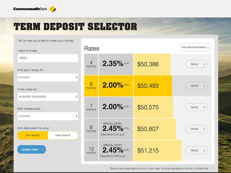 Term Deposit Calculator for CBA finance term deposit banking cba