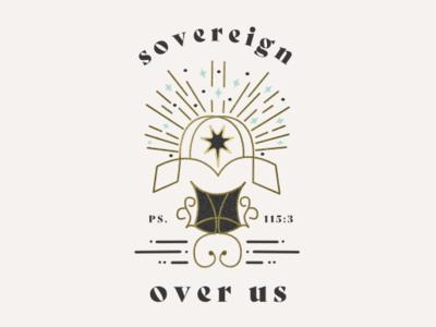 Sovereign over us ministry church reformed psalms bible sky stars throne king vector apparel illustration logo badge