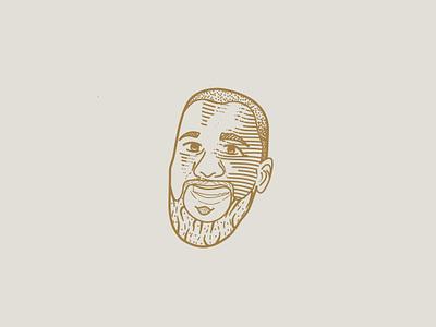 Nathan face graphic design vector logo engraving illustration