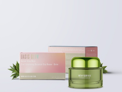 Oasis Glow box design jar makeup glow gradiant holographic package design green cosmetics pink packaging