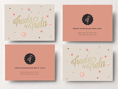 Bakery Business Card pie cupcakes cake gold foil restaurant bakery business card