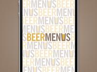 BeerMenus Start Screen