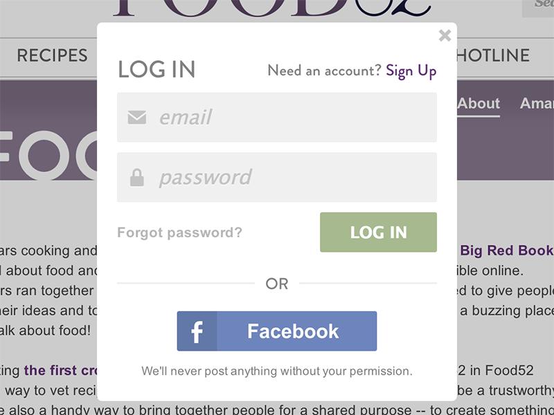 Log In Modal log in login sign in modal facebook connect symbolset