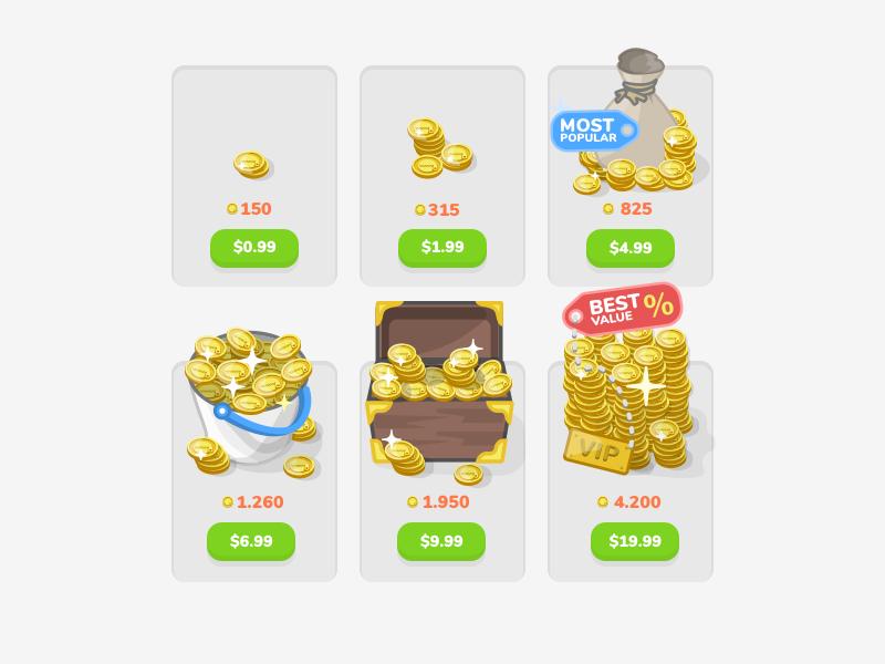eTABU coins gradation store vault package chest gold money board game card game iaps iap coins etabu