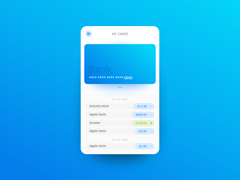 Bank App - My cards gradient interface android iphone ios team app bank ux ui design