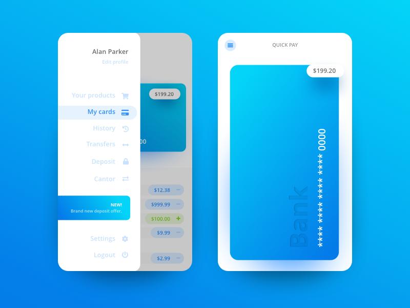 Bank App - Hamburger & Quickpay animation interface android iphone ios money bank app illustration ux ui design