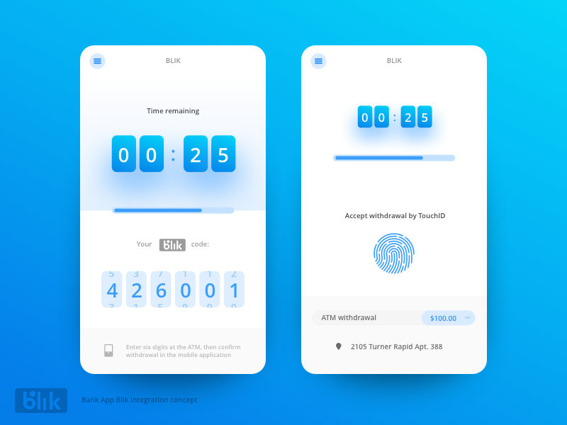 Bank App - Blik integration animation interface android iphone ios blik bank app illustration ux ui design