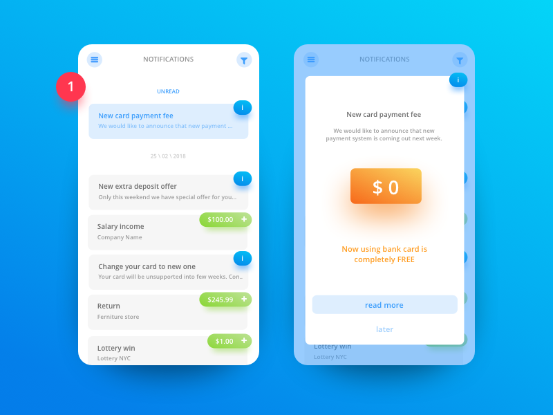 Bank App - Notifications animation interface android iphone ios money bank app illustration ux ui design