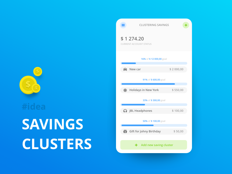 Bank App - Savings Clustering savings interface android iphone ios money bank app illustration ux ui design