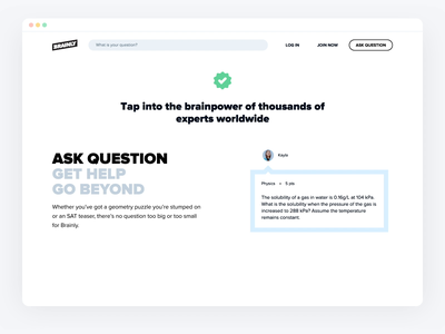Brainly Desktop Homepage Question & Answer section website web typography sketch minimal logo icon clean branding animation interface ux uiux ui landingpage landing homepage flat design brainly