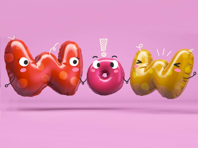 Balloons cartoon wow cute ballon c4d