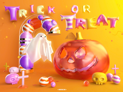Trick or treat halloween c4d