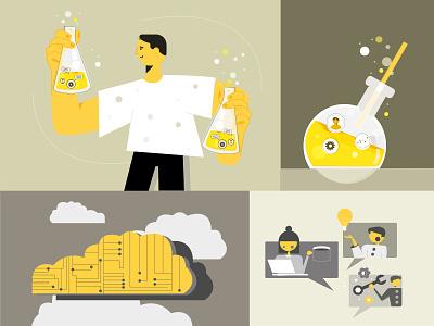 Alchemy set of illustrations flat graphic design vector illustration design
