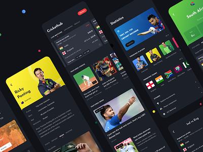 Mobile App for Cricket Enthusiasts clean ui ux design productdesign statistics elegant sports cricket dark uiux appui appdesign