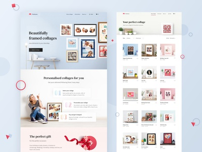 Website for an Online Collage Gift Store photo productdesign clean photos picture frame picture design elegant landing page rame ecommerce ux ui collages web design