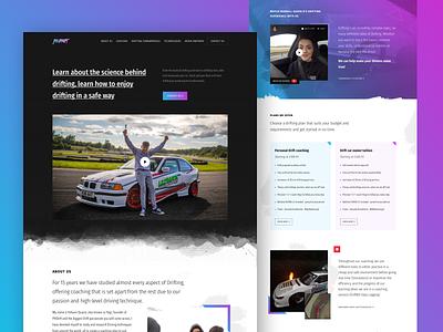 Landing Page for a Drift Academy Website design clean sports car racing drifting branding automobile car website landing page ux ui web design