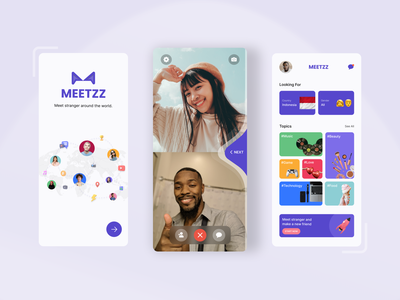 Talk With Stranger App - Video Chat Feature #Exploration animation branding 3d design chat product design bright colorful ios clean exploration mobile app social media video call video chat mobile ux ui