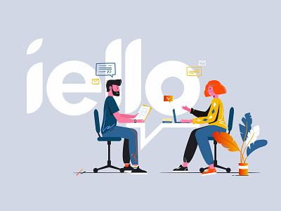 iello concept creative clients business conversation design flat character vector inspiration illustration