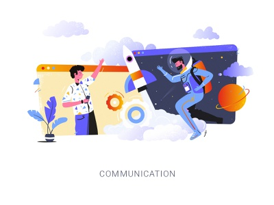 Communication work cosmos concept design vector people flat character communication art creative inspiration illustration