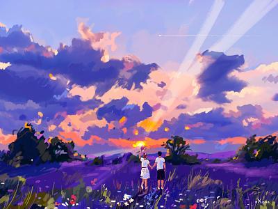 The Sunset digitalart digital painting sun summer colorful people character art inspiration creative illustration sunset