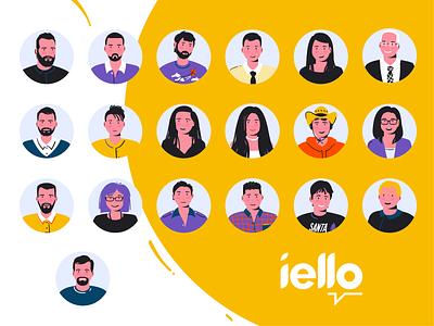 iello team art team vector design flat colorful people character inspiration creative illustration