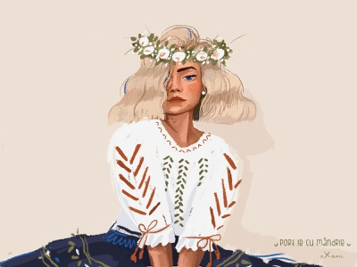 ie/woman coloful shirt ornament woman color romanian dress character colorful art inspiration creative illustration
