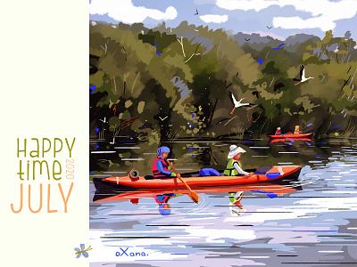 Kayaking on the Dniester. digital painting digital painting river bird canoe kayaking nistru moldova character art inspiration creative illustration