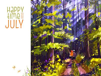 in the forest summer sun couple love digital illustration digital painting digitalart forest walking walk design color art creative colorful character inspiration illustration