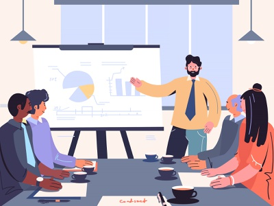 Business Plan colorful flat line design character vector business plan business inspiration creative illustration