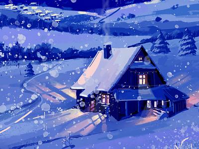 Winter holiday home house snow card digital illustration digital painting digitalart design colorful inspiration creative illustration