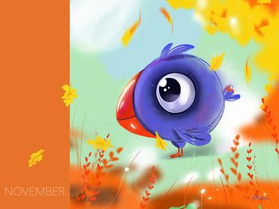 Character brush illustration art illustraion bird character design procreate art procreate autumn character colorful design inspiration art creative illustration
